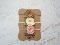 Set of 3 Medium Wool Felt Rose Buds Taupe by SnuggleBugsBowtique