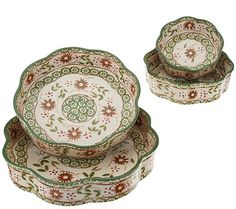 Temp-tations Old World Set of 4 Nested Cake Pans in Poinsettia