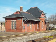 Laurel Maryland Railroad Station constructed in 1884 for Baltimore & Ohio RR, Queen Anne style architect E. F. Baldwin