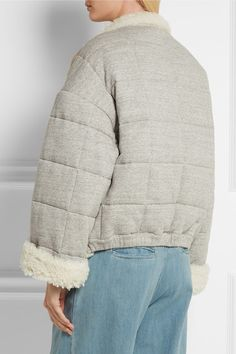 Cream shearling, gray cotton-jersey Snap fastenings through double-breasted…