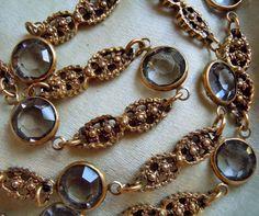 """Vintage Unsigned Goldette Ornate Crystal Bezel Set Long 41"""" Necklace, Estate Lot"""