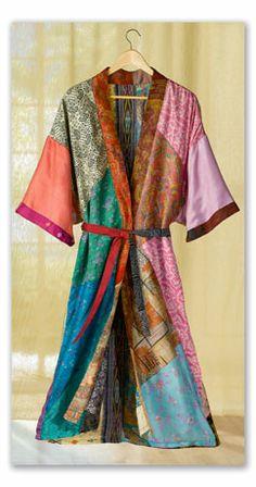 Silk Saris Robe -- made from pieces of vintage saris