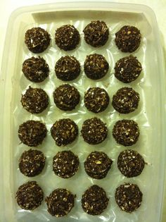 Shakeology No Bake Energy Bites  1 cup oatmeal   8 tbsp PB2  5 tbsp water  1/3 cup honey   1 cup coconut flakes   1/2 cup ground flaxseed   1 scoop chocolate Shakeology  1 tsp vanilla    2.5 gm protein  9 gm carbs  2 gm fat  58 calories per bite!!!    Mix well and use a cookie level cookie scoop to make the balls. Should make around 26!