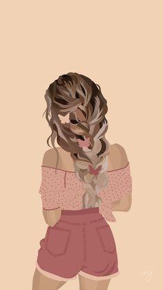 Cartoon Girl Drawing, Girl Cartoon, Cartoon Art, Hair Illustration, Portrait Illustration, Digital Illustration, Girly Drawings, Art Drawings Sketches, Bild Gold