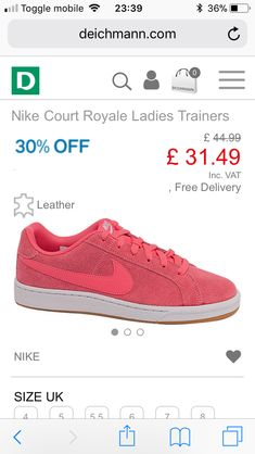 c23f55a3ffb0 Nike coral pink suede trainers Deichman