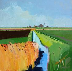 Ditch leading to Boon's Farm, Welches Dam, by Fred Ingrams, Acrylic on board, 91 x 91 cms.