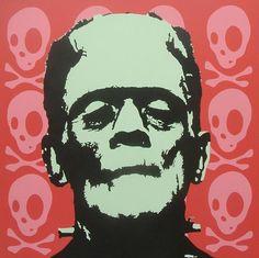 """""""Iiit's Aliiiive!"""" A 36"""" x 36"""" painting of Frankenstein's monster."""