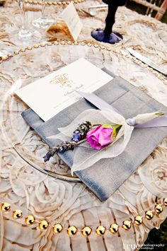 beautiful table setting- lavender, rose and skeleton leaves