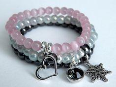 Winter Love Charm Bracelet Snowflakes Charm by SilverManiaStudio, $24.00