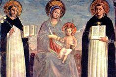 María con santo Domingo y santo Tomás de Aquino, por Fra Angélico, fresco (196 x 187 cm) ejecutado en 1420, hoy en Hermitage, San Petersburgo, Rusia (Wiki commons, direct media)