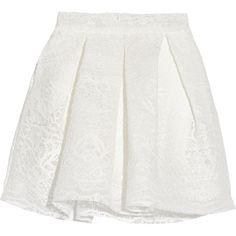 Maje Jeko bonded guipure lace mini skirt ($270) ❤ liked on Polyvore featuring skirts, mini skirts, white, box pleat skirt, lace miniskirt, lace mini skirt, maje and zipper skirt
