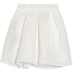 Maje Jeko bonded guipure lace mini skirt ($270) ❤ liked on Polyvore featuring skirts, mini skirts, white, box pleat skirt, lace miniskirt, lace mini skirt, maje and zipper skirt