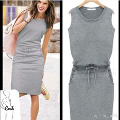 Cute grey dress with drawstring waist Cute grey dress with drawstring waist. Pockets on each side, cute pleat in the back. Size medium. Brand new never worn. Too small for me. Dresses Mini