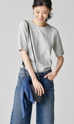 System Organic Cotton Jersey Melange Elbow-Sleeve Tee. Organic Cotton Stretch Wide-Leg Ankle Jean. Textured Italian Leather Shoulder Bag. Handstitched Organic Cotton Bandana.