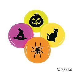 Iconic Halloween Mini Flying Disks. Toss these plastic disks in trick-or-treat bags for a fun Halloween goody! With jack-o'-lantern, witch's hat, ...