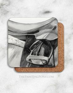 Horse Stirrup Equestrian ArtCorkback Coasters Set (4)