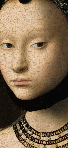 Portrait of a Young Girl detail, Gemäldegalerie Petrus Christus . Artemis: See high-res. Medieval Paintings, Renaissance Paintings, Renaissance Art, Robert Campin, Jan Van Eyck, Google Art Project, Classical Art, Beautiful Paintings, Aesthetic Art