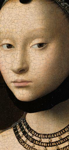 Portrait of a Young Girl detail, 1470, Gemäldegalerie Petrus Christus