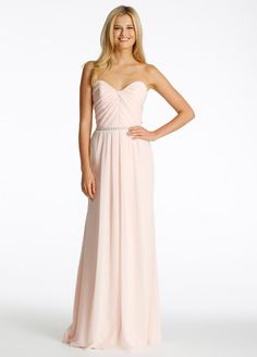 46707948968 Style 5608 Hayley Paige Occasions bridesmaids dress - Blush chiffon  strapless A-line bridesmaid gown