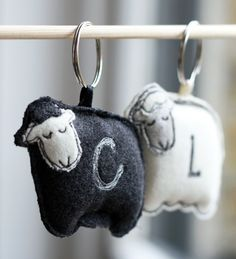 Personalized Woollen Sheep Key Ring / Chain by RabbitHoleCorner