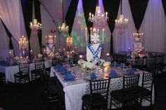 Bar Mitzvah Centerpieces with Lucite Ski Poles for Winter Sports / Skiing Theme {Party at SPACE NJ, Chris Herder Photography} - mazelmoments.com