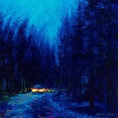 Iris Scott Fine Art | Blue Redwoods - Original Oil - 36x36