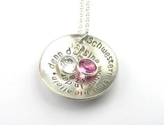 sisters are never alone, because they live in each others hearts. hand stamped jewelry