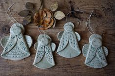 Ceramic Angel / Family chime / Vintage Folk decor / Ceramic Ornament / Home decor / Graden Window Wall Mobile Salt Dough Christmas Ornaments, Clay Christmas Decorations, Christmas Clay, Clay Ornaments, Christmas Crafts, Clay Art Projects, Polymer Clay Projects, Diy Clay, Clay Crafts