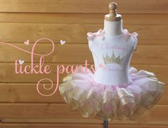 Fairytale Princess Birthday Tutu Collection- Pink and sparkling gold- Includes top, tutu and hairbow- Fit for a princess! on Etsy, $63.99
