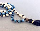 ON SALE Blue and white mala wood mala meditation necklace xmas sale yoga necklace tassel necklace Beaded Bracelets, Necklaces, Meditation, Xmas, Yoga, Gifts, Blue, Etsy, Jewelry