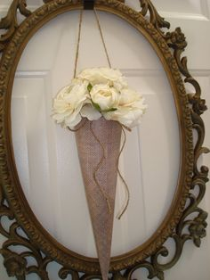 10 Large BURLAP paper cone wedding flower cone by TapersnPetals