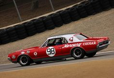 1967 Mercury Cougar racing in Group Trans-Am Cars) at the 2010 Rolex Monterey Motorsports Reunion. Road Race Car, Road Racing, Auto Racing, Touring, Ford Mustang Shelby Cobra, Vintage Mustang, Car Man Cave, Mercury Cars, Cars Usa