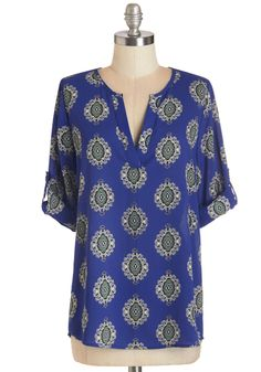 Creative Solutions Top. Every start-up faces a few speed bumps, but you take em head on with business smarts and the great style of this royal-blue blouse. #blue #modcloth