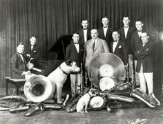 """Fred Solomon's Penny Dance Band, circa 1920s.  Fred Solomon was a local philanthropist who had a house in Topanga, California. He frequently held parties and outings at his house for the orphans of Los Angeles. He made his fortune through his ownership of """"a penny a dance"""" halls in Los Angeles. This was the house band which frequently played at his Topanga property for various get-togethers throughout the 1920s.  Topanga Historical Society. San Fernando Valley History Digital Library."""