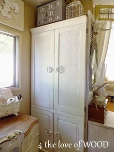 does chalk paint have to be waxed? White Storage Cabinets, White Kitchen Cabinets, Small Space Living, Small Spaces, Anaglypta Wallpaper, Blue Floral Wallpaper, Pine Cabinets, Paint Storage, Chalk Paint Projects