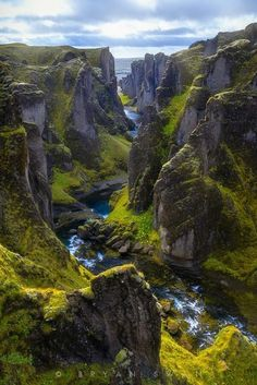 Picturesque plunging valleys in Iceland.