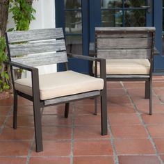 Belham Living Silba Envirostone Faux Wood Patio Dining Chair - $500 for 2 - Hayneedle - reclaimed/driftwood look