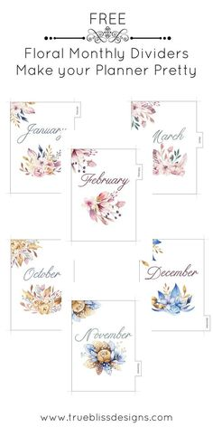 Make your Planner Pretty These monthly printable dividers with watercolor floral images are designed Monthly Planner Printable, Planner A5, Planner Dividers, Printable Calendar Template, Free Planner, Happy Planner, Planner Stickers, Free Printables, Diary Planner