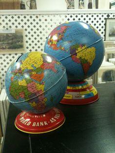Vintage globe banks: use for missions, travel, or international adoption savings