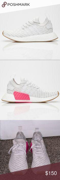 Sale Dame Adidas NMD R2 Leinen Weiß Rosa BA7260 Schuhe von