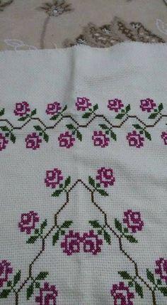 Ğül Source by Cross Stitch Designs, Cross Stitch Patterns, Yarn Shop, Cross Stitch Flowers, Easy Crochet Patterns, Vintage Patterns, Cross Stitching, Embroidery Stitches, Diy And Crafts