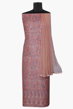 #Ada #handembroidered Coral Peach #Chanderi #Lucknowi #Chikan #UnstitchedSuit Piece– A602290 offers a comfortable and relaxed silhouette to the wearer, the fabric and embroidery is skin friendly  #Adachikan #chikankari #chikanstitches #chikanembroidery #shoponline
