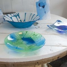 "Fused glass - plate and bowl ""Ice breaks"""