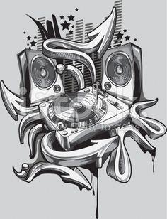 Hip-hop Vecteurs de stock et clip-Art vectoriel Graffiti Art Drawings, Music Graffiti, Graffiti Tattoo, Music Drawings, Graffiti Alphabet, Music Artwork, Dj Tattoo, Hip Hop Tattoo, Arte Do Hip Hop