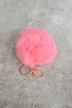 Pom Pom Fur Keychain - Pink