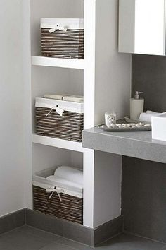 Lined Storage Baskets For Shelves Small Attic Bathroom, Small Bathroom Storage, Simple Bathroom, Small Storage, Bathroom Organization, Baskets For Shelves, Storage Baskets, Storage Ideas, Creative Storage