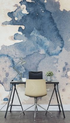 Ink Spill Textured Wallpaper Mural Major desk envy with this watercolour wall mural. Perfect for a creative studio or office space looking for a completely unique accent wall. Wall Design, House Design, Design Design, Interior And Exterior, Interior Design, Country Interior, Watercolor Walls, Watercolor Wallpaper, Textured Wallpaper
