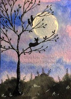 Original Art Cat & Birds in a Tree ACEO