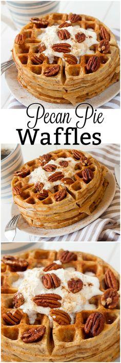 Amazing Pecan Pie Waffles. Make breakfast amazing with these tasty waffles that taste just like Pecan Pie. Perfect fluffy waffles with the amazing taste of pecan pie.
