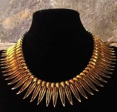 Gold feather Hmong Miao Brass Tribal Necklace Full by CultureCross, $45.00